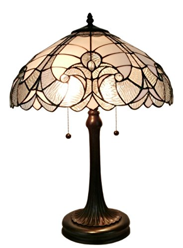 Mahogany Tiffany Desk - Amora Lighting AM204TL16 Tiffany Style White Table Lamp 23 in High