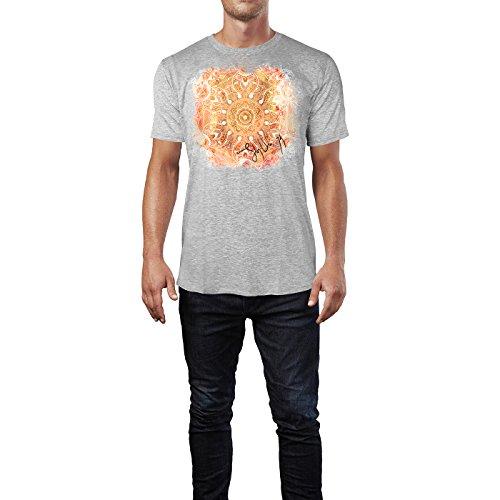 SINUS ART ® Pinkes Paisley Mandala im Ethno Stil Herren T-Shirts in hellgrau Fun Shirt mit tollen Aufdruck