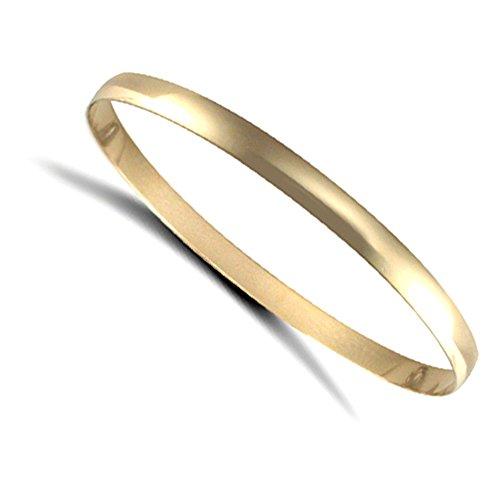 Jewelco Londres dames 9K solide or jaune bracelet d-forme 5mm bangle