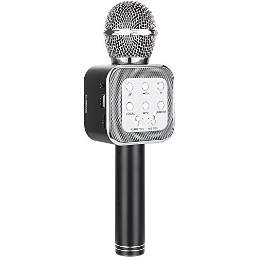 Shendong Wireless Bluetooth Karaoke Microphone, Multifunctional Portable Handheld Karaoke Mic Speaker Machine for Android, iPhone and All Smartphone (Black)