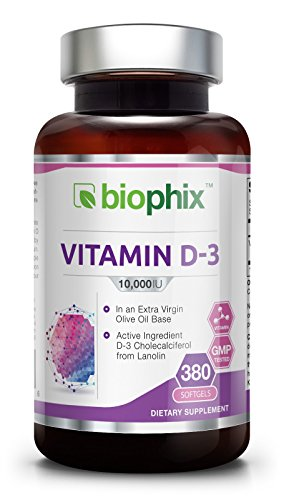 Vitamin D3 10000 IU 380 Softgels - High-Potency | Non-GMO | Soy-Free | In Extra Virgin Olive Oil | Strong Bones | Immune Health | Support for K-2