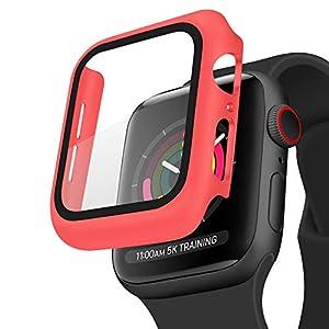 WOOZ Coque pour Apple Watch 44mm Series 6, Series 5, Series 4, Se, Protection Écran Verre Trempé Couverture Case de…
