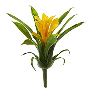 Artificial Flowers -11 Inch Yellow Bromeliad Flower -Set of 6 Flowers Silk Flowers 51