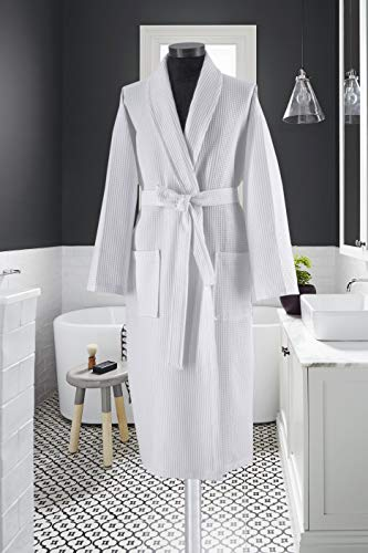 Waffle Weave Shawl Collar Unisex Robe Knee Length Spa Bathrobe 100% Turkish Cotton OSFA (White)