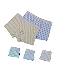 BOZEVON 5Pcs Children's Underwear Cotton Boxer Briefs Boys 9-14 Years
