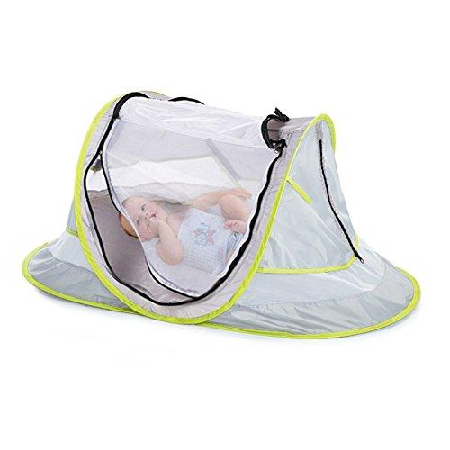 LOCHAS Portable Baby Travel Tent Instant Pop Up Travel Crib UPF 35+Mosquito Net Folding Baby Crib Newborn Foldable Crib Beach Sleeping Pad UV Protection