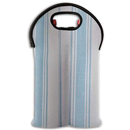 RobotDayUpUP Light Blue Hampton Stripe 2 Bottle Wine Tote Carrier Bag Portable Insulated Polyester Beer Hand Bag for - Hamptons Carrier Wine