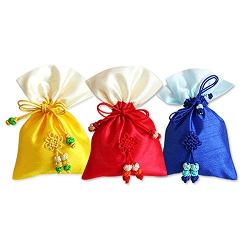 Korean Traditional Silk Lucky Bag Fortune Pocket Cosmetics Gift Bags Small RANDOM 3 COLORS