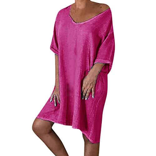 AgrinTol Women Summer Style Feminino Vestido T-Shirt Cotton Casual Plus Size Ladies Dress Hot Pink