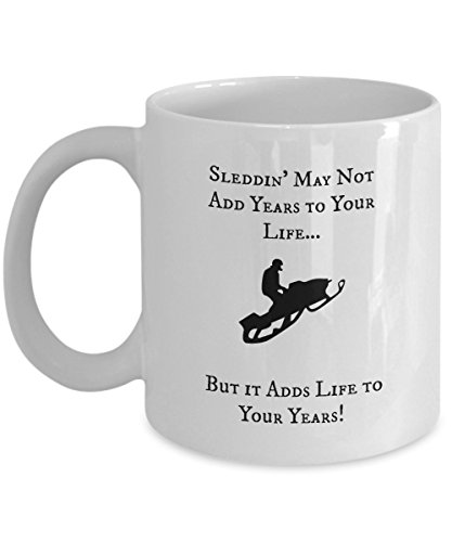 [Snowmobile Mug - Sleddin' Adds Life To Your Years ! (White)] (New Snowmobile Sled)