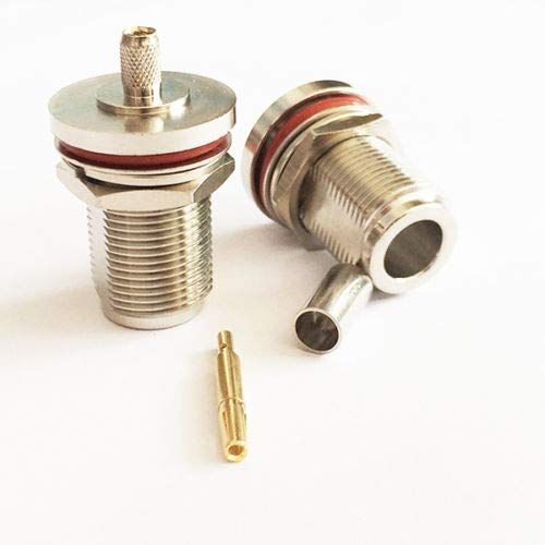 N Type Female Bulkhead RF Connector with nut Crimp for RG58 LMR195 Cable New