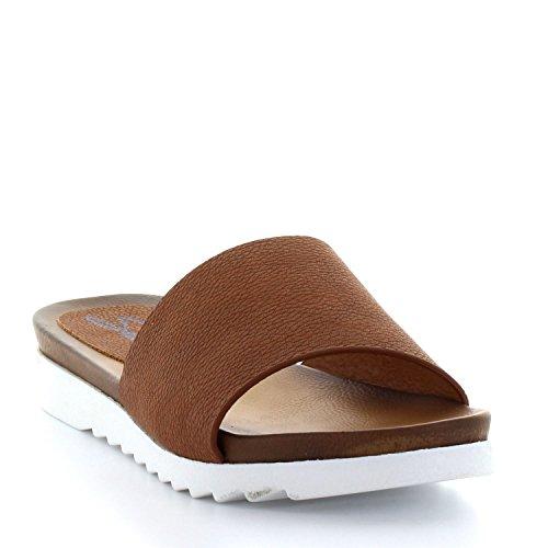 Seven7 Women's Pearl Slide Sandal, Cognac, 9 M US