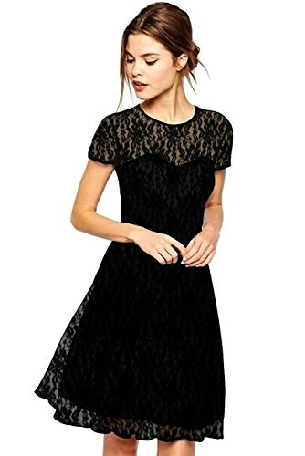 Amoluv Women Round Neck Short Sleeve Pleated Lace Slim Dress Black, Large -