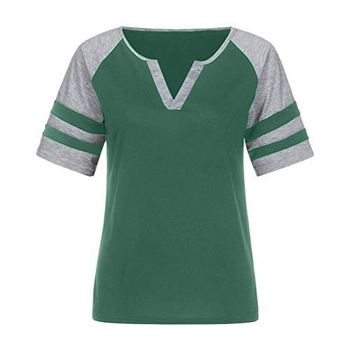 Kulywon Womens Tops Women Casual Summer Lady V-Neck Striped Short Sleeve Blouse Shirt Top Green