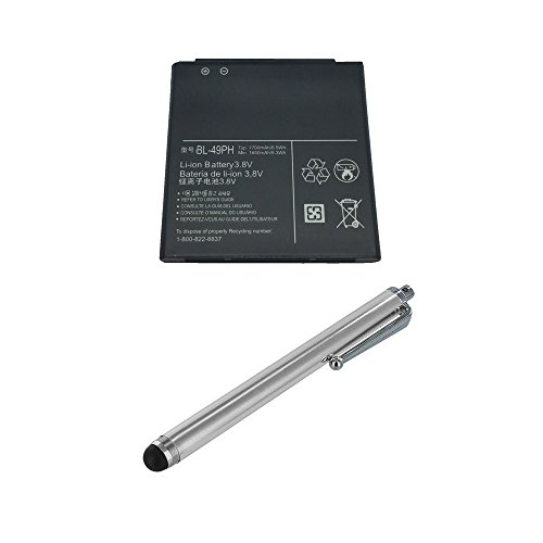 Brand New Generic Standard Battery BL-49PH BL49PH EAC61858601 3.8V 1700mAh For LG F120 F120K F120L with BIG Stylus Included - Non-Retail (1700mah Large Battery)