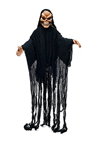 Animated Hanging Undead Ghost Witch Skeleton Scary Halloween Party Decorations (Black, Flesh Color)
