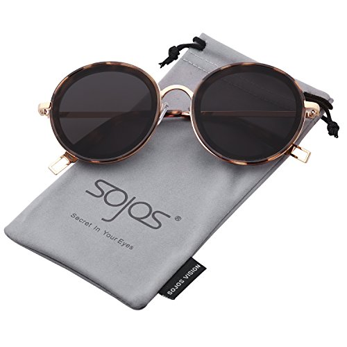 Large Sunglasses Round (SOJOS Oversized Round Metal Frame Sunglasses Flat Lens UV400 Protection SJ1076 with Tortoise Frame/Grey Lens)