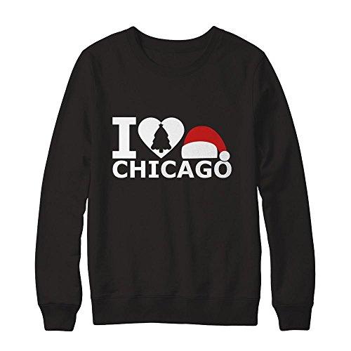 Teely Shop Men's I Love Chicago Christmas Costume Gildan - Pullover Sweatshirt/Black/M