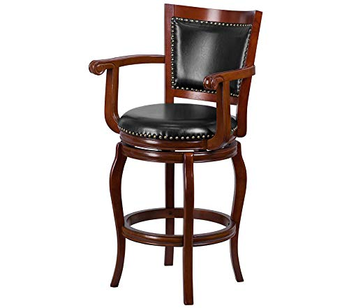 (Office Home Furniture Premium 30'' High Cherry Wood Barstool with Black Leather Swivel Seat)