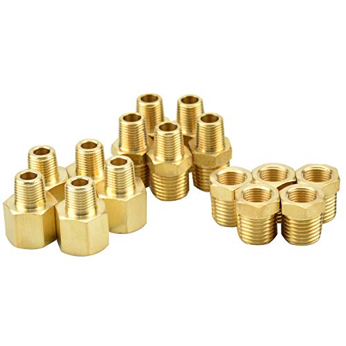 Gasher 15PCS Brass Pipe Fitting, Hex Bushing, Reducer Adapter, Reducing Hex Nipple 1/8 Inch NPT x 1/4 Inch NPT