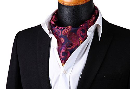 HISDERN Men's Ascot Paisley Floral Jacquard Woven Gift Cravat Tie and Pocket Square Set Pink by HISDERN (Image #2)