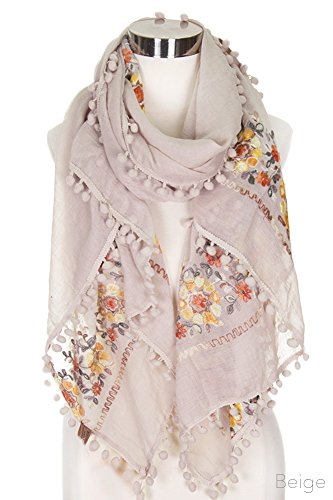 - ScarvesMe Women's Floral Embroidered Accent Oblong Scarf with Pom Pom (Beige)
