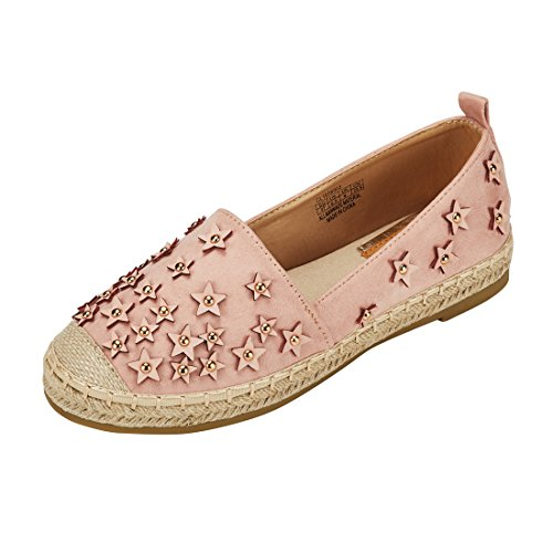 JENN ARDOR Womens Espadrilles Casual Flats Classic Slip-On Comfort Canvas Shoes with Glitter Bead pink fabric, size:6.5 US