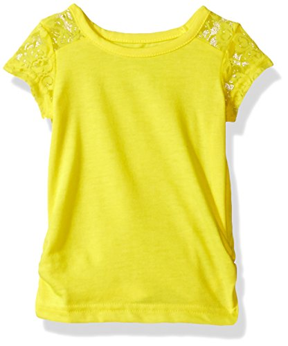 French Toast Baby Girls' Short Sleeve Lace Shoulder Tee, Scorcher, 12M