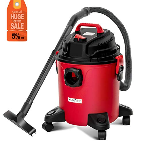 KUPPET 3-in-1 Wet and Dry Vacuum Cleaner, Wet Dry Vac Cleaner with Blower Multi Purpose 5 Gallon Vac, Powerful 16Kpa Suction,Large Capacity 3.5 Horsepower ()