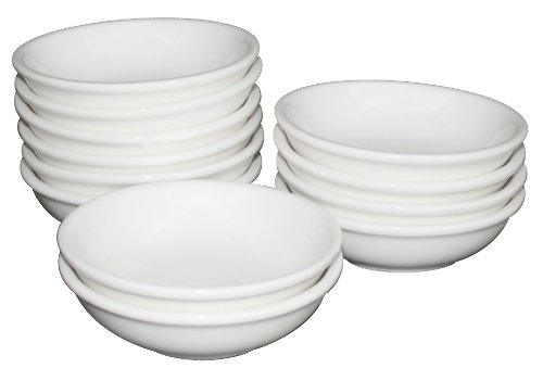 White Ivory Ceramic Side Fruit Dishes – Bowls, Restaurant Quality, 5.5 Oz – Set of 12 – Dishwasher Safe, Appliances for Home