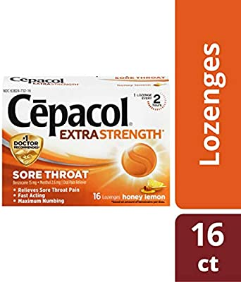 Cepacol Extra Strength Sore Throat Relief Lozenges, Honey Lemon Cough  Drops, Maximum Numbing- Fast Acting Sore Throat, Mouth & Canker Sore Pain  Relief