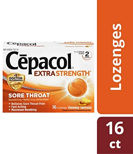 Cepacol Extra Strength Sore Throat Relief Lozenges, Honey Lemon Cough Drops, Maximum Numbing- Fast Acting Sore Throat, Mouth & Canker Sore Pain Relief with Benzocaine & Menthol, 16 Count (Best Numbing Cough Drops)