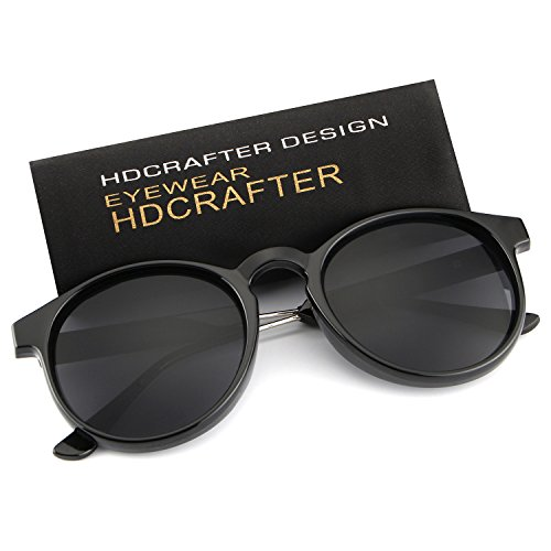 HDCRAFTER Classic Vintage Circle Frame Sunglasses for Men Women - Width Lens