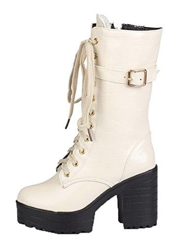 AgeeMi Shoes Damen PU Schnüren Hoher Absatz Rund Zehe Rein Stiefel Weiß