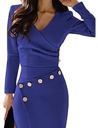 Happy Saield - Vestido de oficina para mujer con cuello en V, diseño de botones fruncidos, tallas S-XL