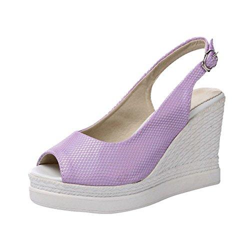 Slingback Buckle Womens Elegance Peep Chic Purple Sandals Bridal Sweet Carolbar Toe Fashion Wedges U46qnnx