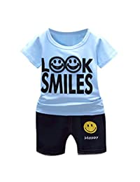 Lavany 2pcs Baby Boys Girl Clothes Set Short Sleeve Smile Shirt+Denim Shorts Outfits