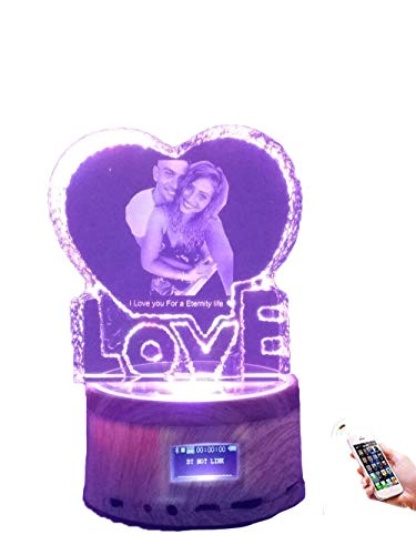 FACOCO Bluetooth Music Box Personalized Photo Light Crystal Photo Decoration(Wood Grain 14.29cm)