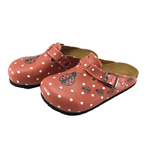Ladybug Clogs - Flysoft Bonito Women's Clogs and Mules (8, Red Ladybug)