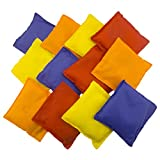 "Set of 12 Assorted 4"" Primary Color Nylon Bean Bags Carnival Game Toy Corn Hole (12 Pack)"