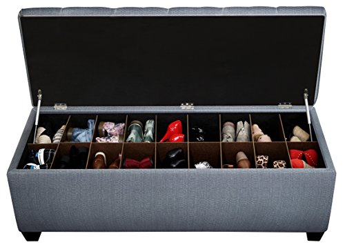 The Sole Secret Bay Blue Button Tufted Shoe Storage Bench, Large