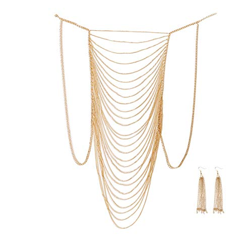 - DOTASI with Ear Ring, Sexy Belly Women Golden Tassel Crossover Bikini Body Chain Necklace