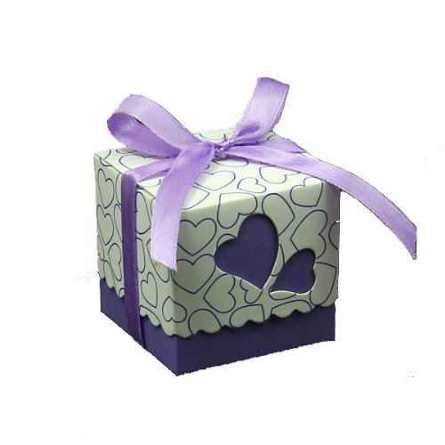 Rbenxia DIY Love Heart Candy Gift Boxes Wedding Bridal Favor Wedding Party Decor Kit 50pcs Purple