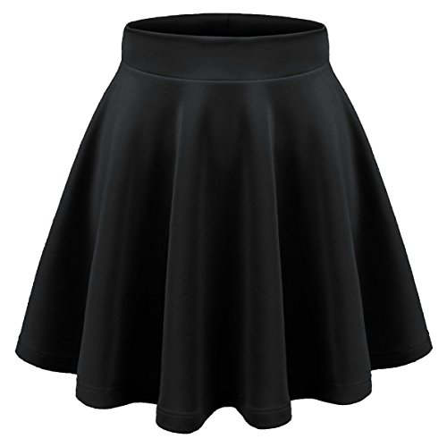 Aenlley Womens Basic Shirts Stretchy Short Pleated Circle Flared Skater Skirt Color Black Size (Hermione Costume Adult)