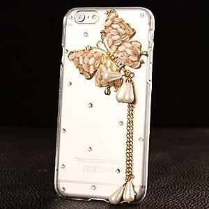 WQQ delicadas mariposas DIY con patrón de diamantes de imitación de plástico duro para el iPhone 6