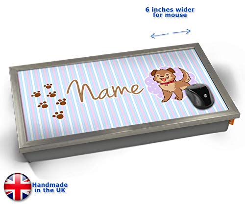 KICO Puppy Personalised Childrens Name Cushioned Bean Bag Laptop Lap Tray Desk - Built-in EMF Shield (Electro Magnetic Field) - Chrome Effect Frame