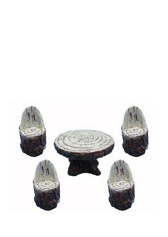 Hi-Line Gift 72043-01 Fairy Garden - Wood Table with 4 Chairs