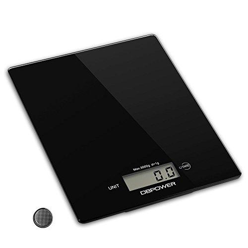 Smart Digitale Küchenwaage, Multifunktionsküche-Nahrungsmittelskala Messen, 11 £ / 5kg High Precision Touch-Sensitive, ausgeglichenes Glas, Schwarz [Energieklasse A+++]