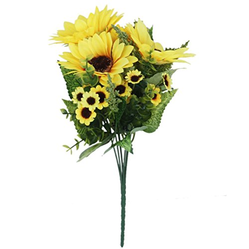 Tinksky Simulation Sunflower Artificial Flower Plant Home Decoration (Yellow)