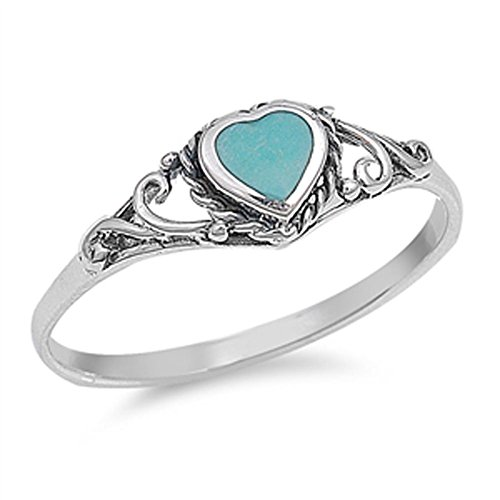 Simulated Turquoise Heart Love Promise Ring Bali New .925 Sterling Silver Band Size 7